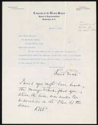 Letter from Ruth Pratt, Washington, DC to Helen Keller, Forest Hills, NY acknowledging receipt of her letter.