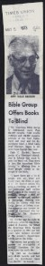 Thumbnail of Article from the Times Union about Dale C. Recker's blindness adv...