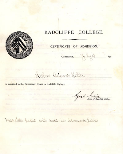 Helen's certificate of admission to Radcliffe College, 1899