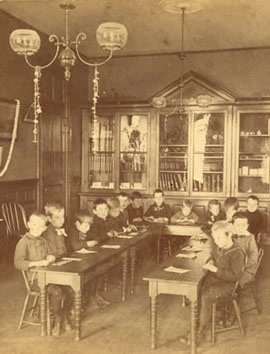 Photograph of the Boy's Kindergarten class at the Perkins School for the Blind, c. 1880