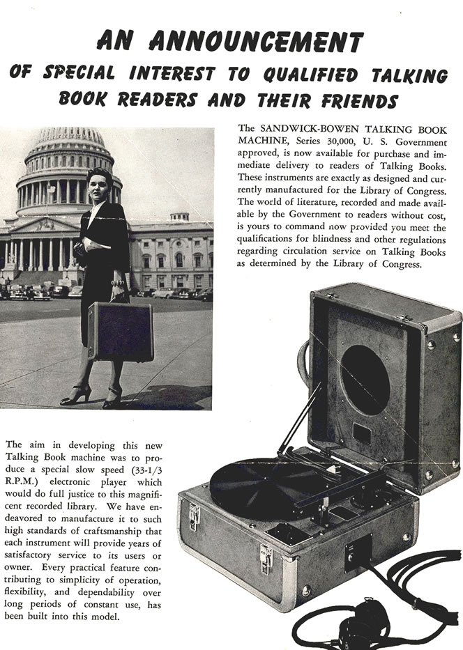 Advertisement entitled An Announcement of Special Interest to Qualified Talking Book Readers and Their Friends. The page advertises the Sandwick-Bowen Talking Book machine.
