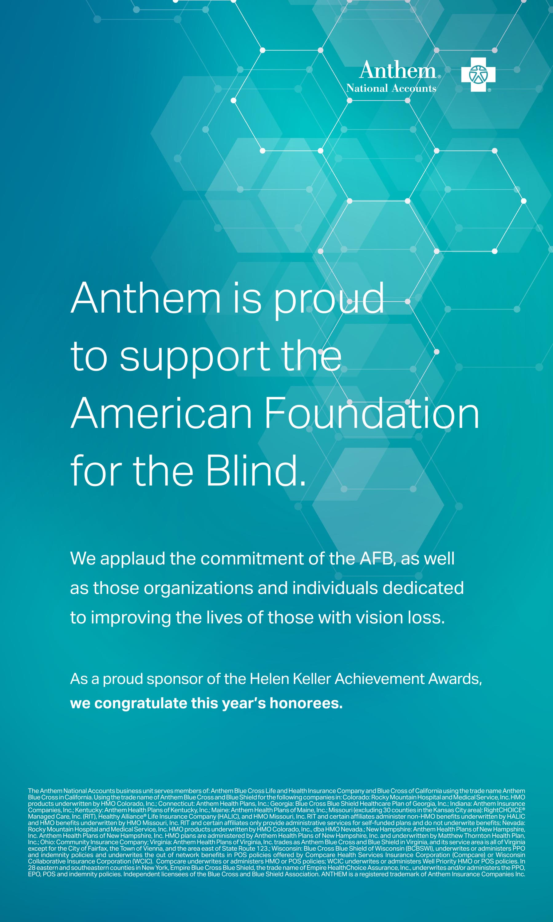 Anthem HKAA 2020 Ad | American Foundation for the Blind