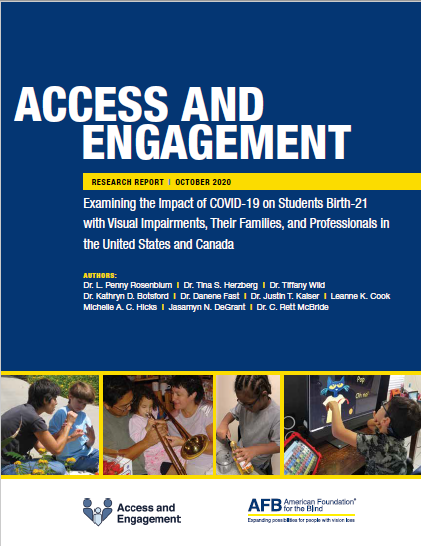 cover of the Access and Engagement report, which is dark blue with white text and four photos of school-aged children engaged in educational activities at home