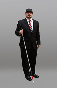 Joe Strechay, with his white cane