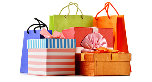 colorful gift bags and boxes