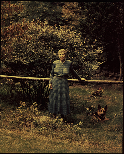 Helen Keller in her garden at Arcan Ridge 1951