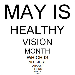 eye chart with words in decreasing font sizes: May is Healthy Vision Month which is not just about seeing an eye chart