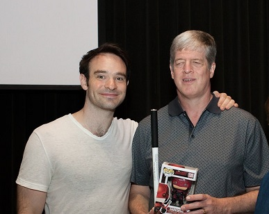 Charlie Cox, a Helen Keller Achievement Award winner (2015) and star of Marvel's Daredevil with AFB President and CEO Kirk Adams