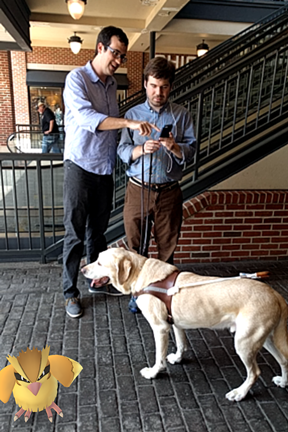 William Reuschel and Aaron Preece look at an iPhone while guide dog Joel looks at a Pidgey