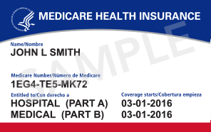 sample new Medicare card, with a randomly generated Medicare number for John Smith.