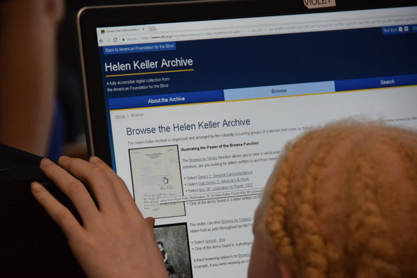 student using the Browse feature in the digital Helen Keller Archive