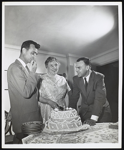 Helen Keller, M. Robert Barnett and Eric Boulter with birthday cake.