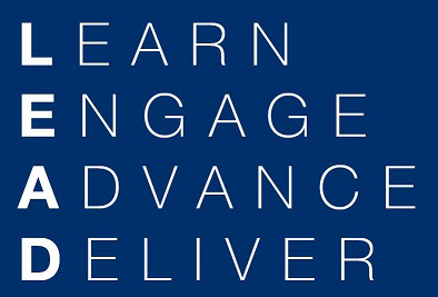The words Learn, Engage, Advance, Deliver appear in white on a blue background