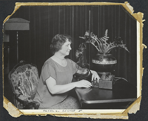 Helen Keller with early communications device
