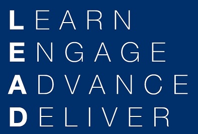 white text on dark blue background spelling LEAD: Learn Engage Advance Deliver