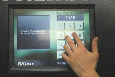 The main Fitlinxx kiosk also has a touch screen interface with no tactile indicators or speech output.