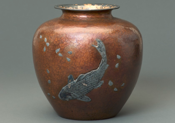 Copper vase inlaid with silver carp and cherry blossoms, gift from the City of Hiroshima. November 13, 1947