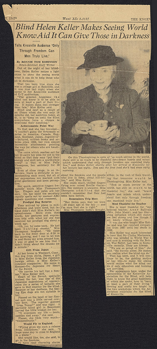 Article from Knoxville publication reporting on Helen Keller's visit to Knoxville as part of her lecture tour
