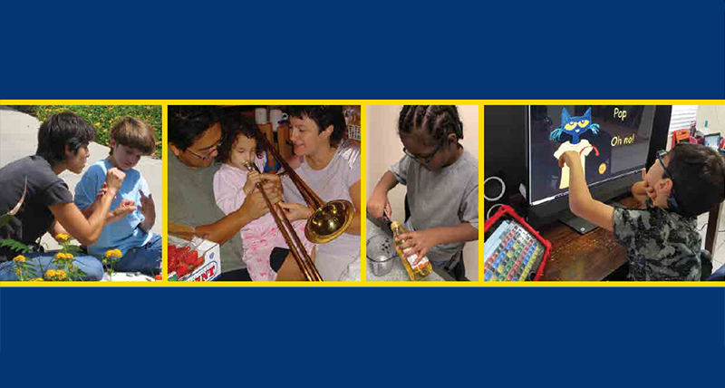 a collage from the Access and Engagement report cover, featuring school-aged children engaged in educational activities at home -- using sign language in a garden, playing the trombone, measuring cooking oil, and pointing to an enlarged photo on a high-contrast screen