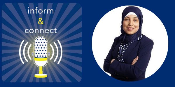 Logo: Inform & Connect. Sara Minkara smiling with her arms confidently crossed in front of her.