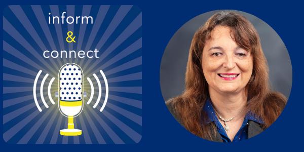 Inform and Connect logo. Sylvia Perez headshot.