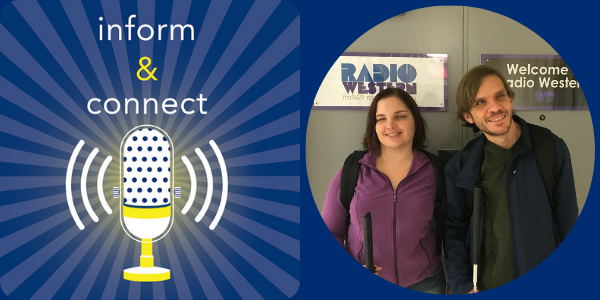 Inform & Connect logo. Kelly and Brian Kijewski standing in front of doors to radio station.