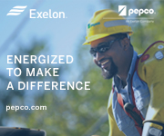 Energized to make a difference. Image of a Black male lineworker. Exelon and Pepco logos.